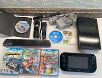 Nintendo Wii U 32gb Black Console Mario, Smash, Mario Maker, Wii Sports ++ LOT!!