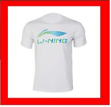 Li-Ning Mens Sports T Tee Shirt Medium White Round Neck Badminton Tennis Squash