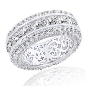 Round Diamond Eternity Ring 14k White Gold Over 925 Sterling Silver
