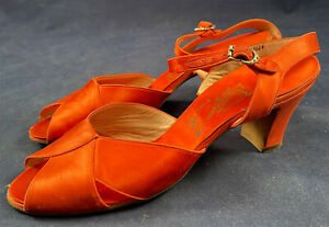 Vintage O'Connor & Goldberg Red Silk Satin Ankle Strap Evening Shoes 1940s Heels