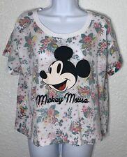 Disney Mickey Mouse Hawaiian Crop Top T Shirt Reverse Print Womens XL NEW
