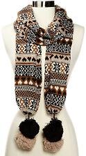 "Muk Luks Women's Knit Scarf Stylish Warm Large Poms Nordic Pattern Hearts 76"""
