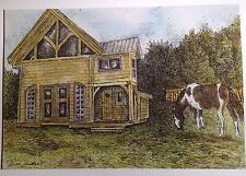 Barn With Pinto, art reproduction, artist, ink, realism, architecture