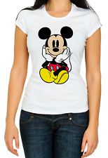 Mickey Mouse Cute funny White Women's 3/4 Short Sleeve T-Shirt K505