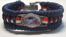 New England Patriots Helmet Charm Trilobite Wide Paracord Bracelet with Shackle