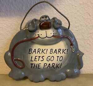 Russ Berrie Bark Bark Let's Go To The Park Dog Funny Ceramic Wall Plaque
