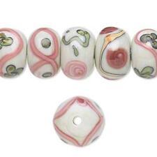 8466 Glass Lampwork Bead Rondelle Floral Pink Approx 14mm PK10  *UK EBAY SHOP*