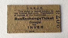 Vintage 1960s CDRJC Irish Railway Train Ticket DONEGAL INVER Bus Exchange