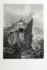 San Marino. Gesamtansicht. Echter Stahlstich um 1850