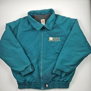 Carharrt Vintage Men Zip up Jacket Bomber Teal Blue Fleeced Lining Collar Size L