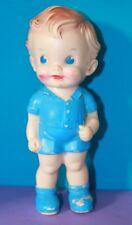 """1950s Vintage THE SUN RUBBER CO Ruth E Newton 8"""" Chunky BOY BLUE EYES Doll ROMPY"""
