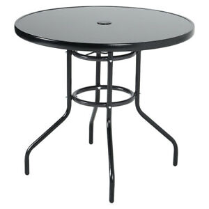 Metal Glass Top Table Garden Bistro Indoor Outdoor Cafe Dining with Parasol Hole