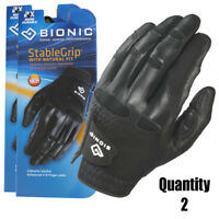 2 x Bionic Mens StableGrip Golf Glove - Left Hand - Black - Leather - $28.95 ea