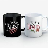 Couples Coffee Mug - His Beauty Her Beast - Funny 11 oz Black and White Ceramic