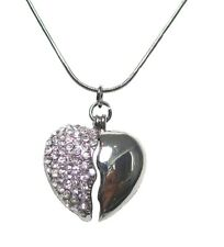 Ladies Silver Love Broken Heart Crystal Dangle Necklace Pendant Women Girls Gift
