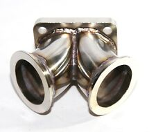 """Turbo T4 Twin Scroll Flange to 2.5"""" V-band Dual Inlet SS Y Elbow Adapter"""