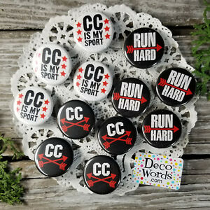 """12 Cross Country trade Pins Badges 1 1/4"""" PINBACK party favor DecoWords Running"""