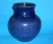 Studio Pottery - Handsome Blue Speckled Stoneware Bulbous Vase - Pottery Mark L