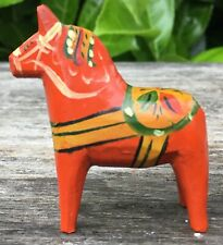 "Old Vintage Red Painted 1.75"" Tall Swedish Folk Art Dala Horse Figure"