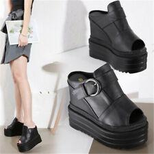 Womens Casual Peep Toe Super High Wedge Heels Shoes Platform Slingback Slippers