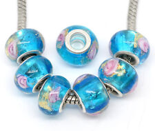 10 Goldsand Lampwork Glass Beads Fit Charms Bracelet Blue