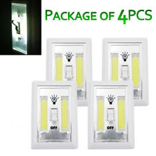 4 Pcs Cordless COB LED Night Light Switch Battery Operated Closet Wall Emergency