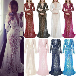 Pregnant Women Lace Sheer Maternity Dress Gown Casual Photography Shoot Dress