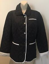 JOBIS Ladies Jacket Coat Black White Quilted Diamond Coat Size UK 14 Eur 40 New