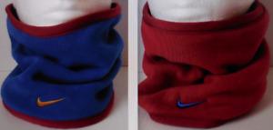 NIKE Youth Unisex Reversible Fleece Neck Warmer Gym Blue/Red Crush/Metallic Gold