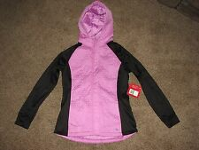 NWT Women's XL Quilted Zip Up Hooded Pink Purple Black Fila Jacket Coat Hoodie