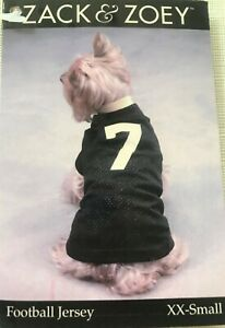 Zack & Zoey Dog Football Jersey #7 XXS - Black with yellow trim- Closeout Sale!