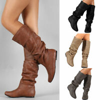 Womens Winter Leather Mid Calf Boots Ladies Casual Riding Biker Flat Shoes Size