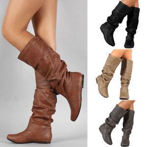 Womens Mid Calf Boots Long Slouch Flat Flat Riding Biker Shoes Knee High Size UK