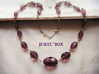 ANTIQUE ART DECO Large Amethyst Crystal Beads Rolled Gold VINTAGE NECKLACE