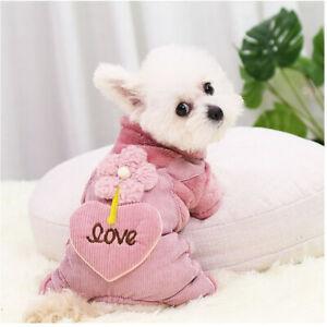 Pet Clothes Cute Flower Overall Cat Dog Jumpsuit Pants Coat Jacket Puppy Costume