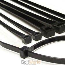 100, 3.6 x 200mm STRONG BLACK COLOUR NYLON PLASTIC CABLE TIES ZIP TIE WRAPS