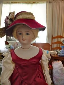 21-Inch Smiling Bru Reproduction w/ Mohair Wig In Gorgeous Dress & Hat 9