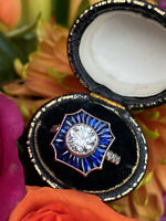 Art Deco Sapphire and Old Cut Diamond Ring 1.24ct + 1.20ct 18ct White Gold