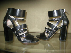Michael Kors Winston Womens Black Leather Gladiator Sandals Heels Sz US 5.5