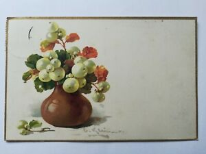 Glückwunschkarte, Vase mit Schneebeeren, 1919 Sachsen
