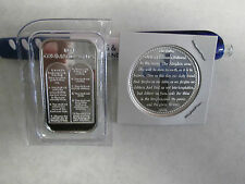 2 oz  .999 Fine Lord's Prayer Cross Ten Commandments  silver round  bullion bar