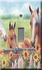 Single Light Switch Plate Cover - Green Harmony Horses