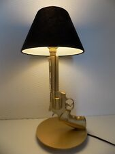 LAMPE DESIGN 357 MAGNUM OR (chevet bureau table pistolet police arme revolver)