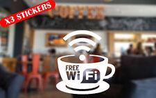 3x Free WIFI Window / Wall Sign Vinyl Cup Sticker Coffee Shop Bar Restaurant