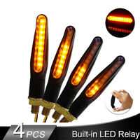 4pcs Motorcycle 12LED Turn Signal Flowing Light Indicator Blinker Amber Lamp L