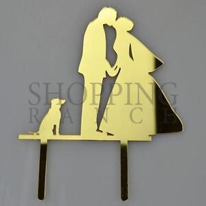 Wedding Cake Bride Groom & Sitting Dog Topper Mr & Mrs Gold Acrylic