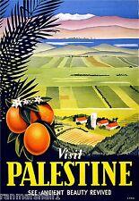 Visit Palestine Israel Jerusalem Bible Vintage Travel Advertisement Art Poster