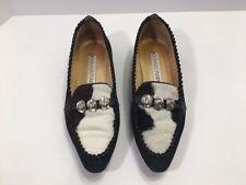 Donald J Pliner Sz 7 M Shoes Calf Hair Black Suede Flat Loafers Cowboy Hat