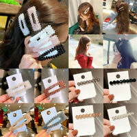 Women Crystal Slide Snap Hair Clip Barrette Grips Pearl Hairpin Pins Accessories