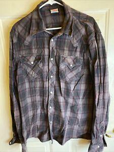 True Religion Gray Plaid Flannel Pearl Snap Western Style  XXXL